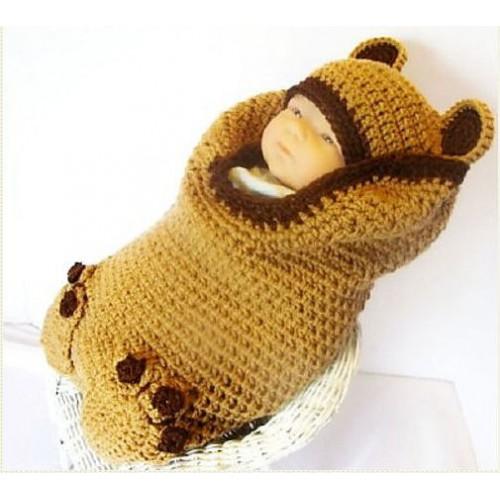Вязанный комплект на выписку из роддома для новорожденного Медвежонок