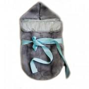 Меховой конверт для новорожденного из кролика Рекса (серый пепельный окрас)