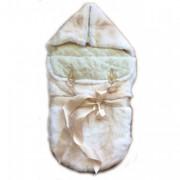 Меховой конверт для новорожденного из меха кролика Рекс(бежевый окрас)