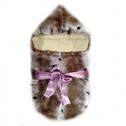 Меховой конверт для новорожденного из кролика Рекс (пятнистый окрас)
