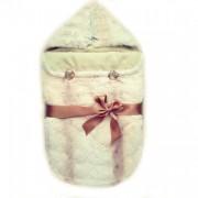 Меховой конверт для новорожденного из меха кролика Рекс(кремовый окрас)